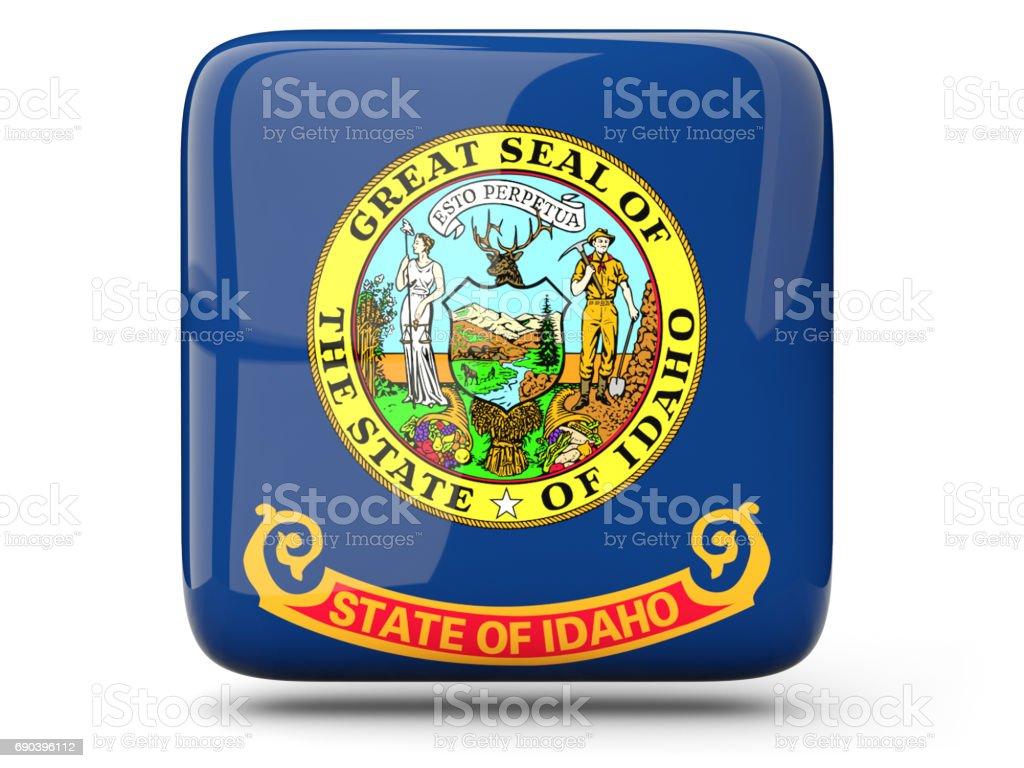 Flag of idaho, US state square icon stock photo