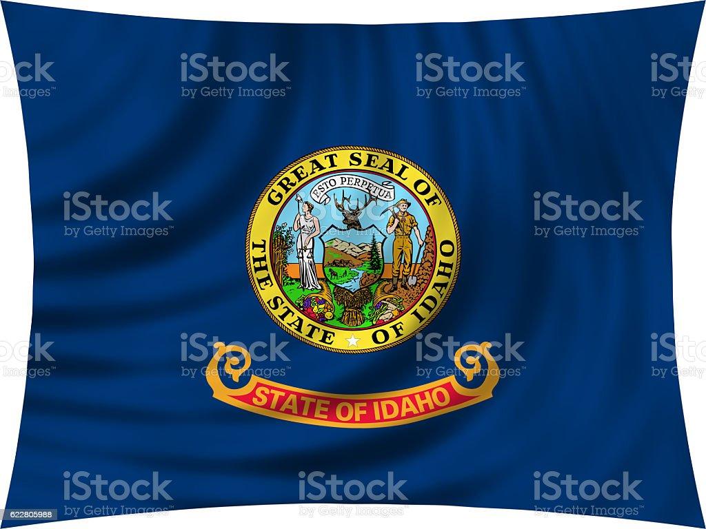 Flag of Idaho waving isolated on white stock photo