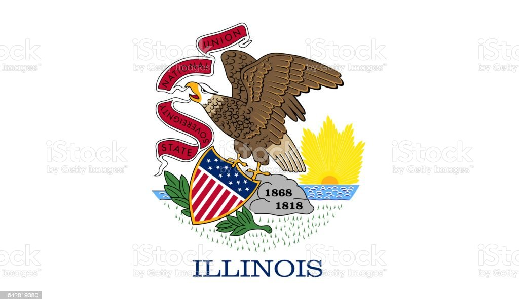 US flag of Illinois stock photo
