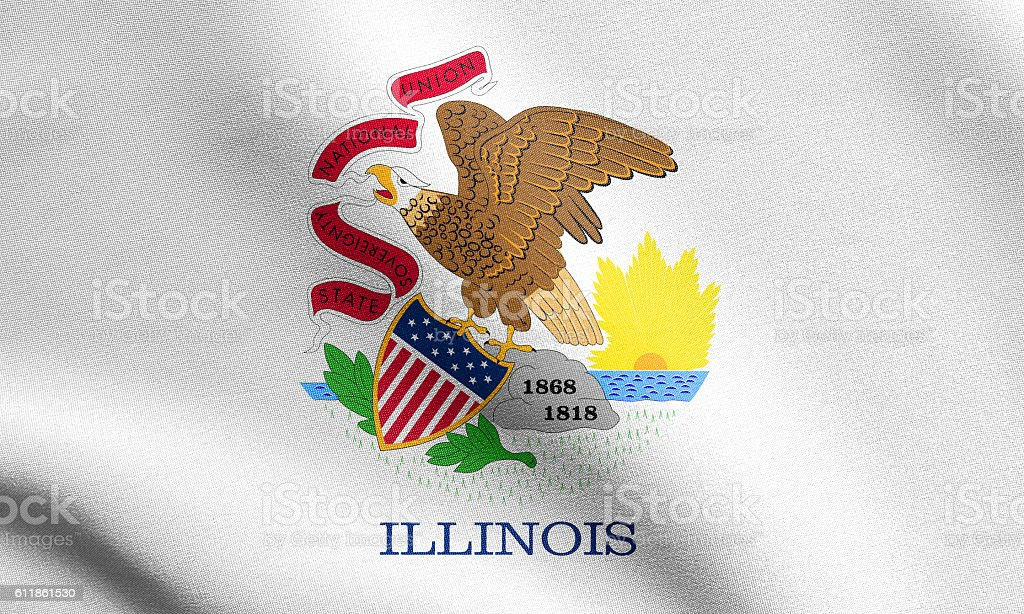 Flag of Illinois waving with fabric texture stock photo