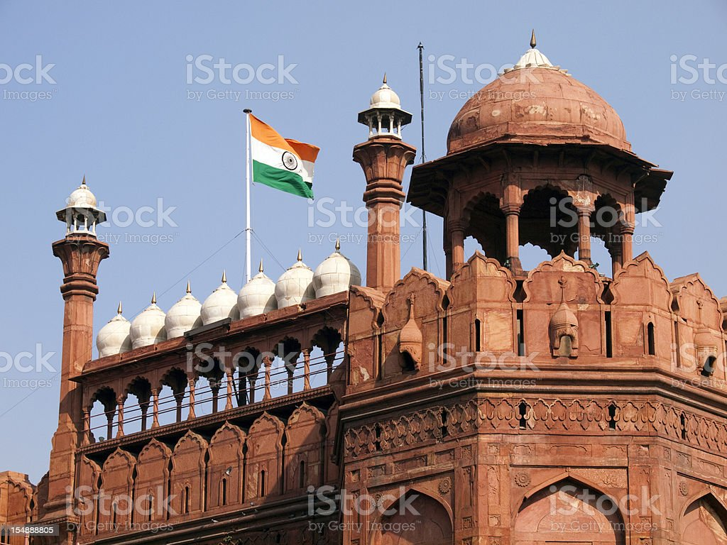 Flag of India flying over the Red Fort in Delhi stock photo