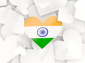 Flag of india, heart shaped stickers