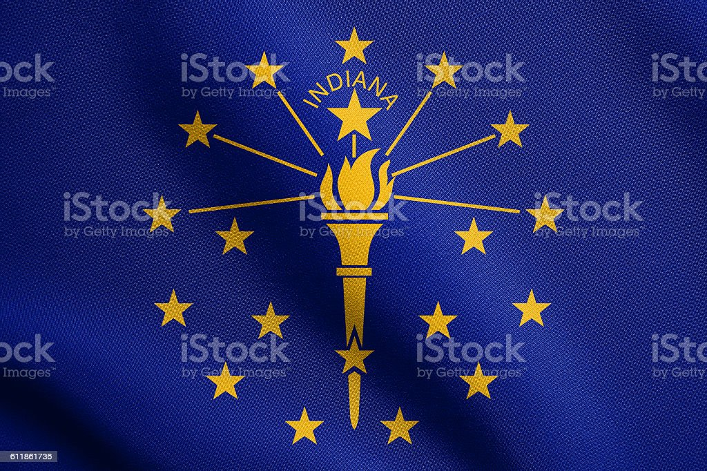 Flag of Indiana waving with fabric texture stock photo