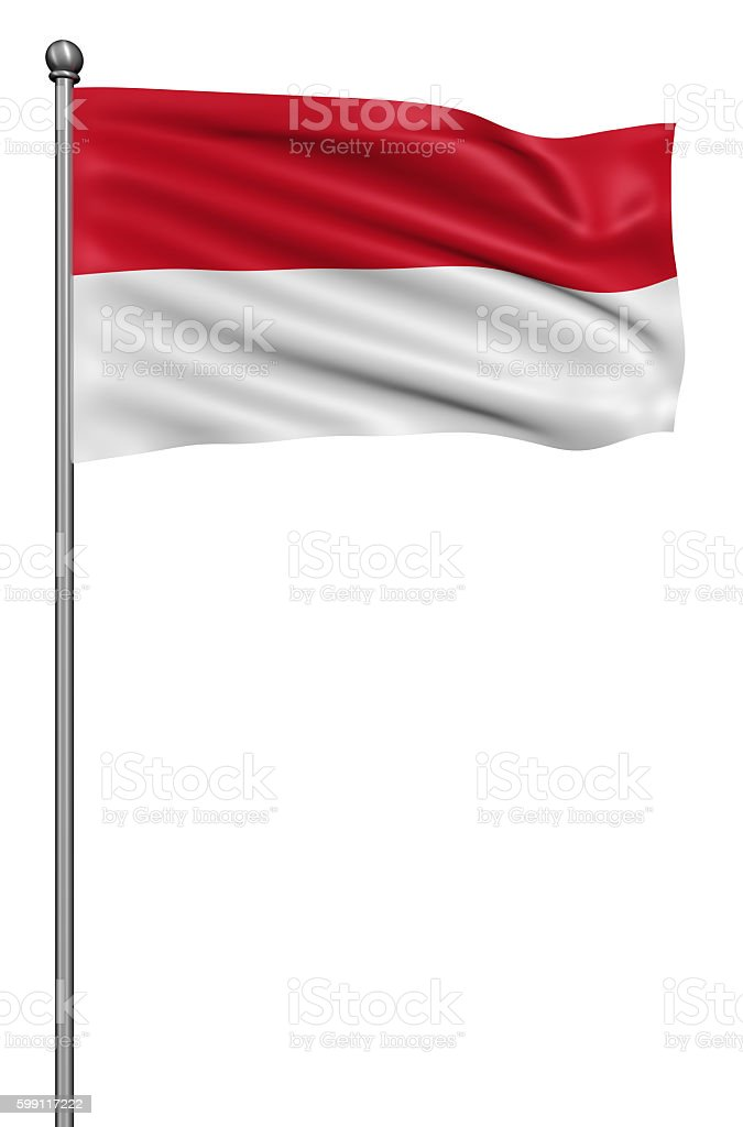 Flag of Indonesia against white background. stock photo