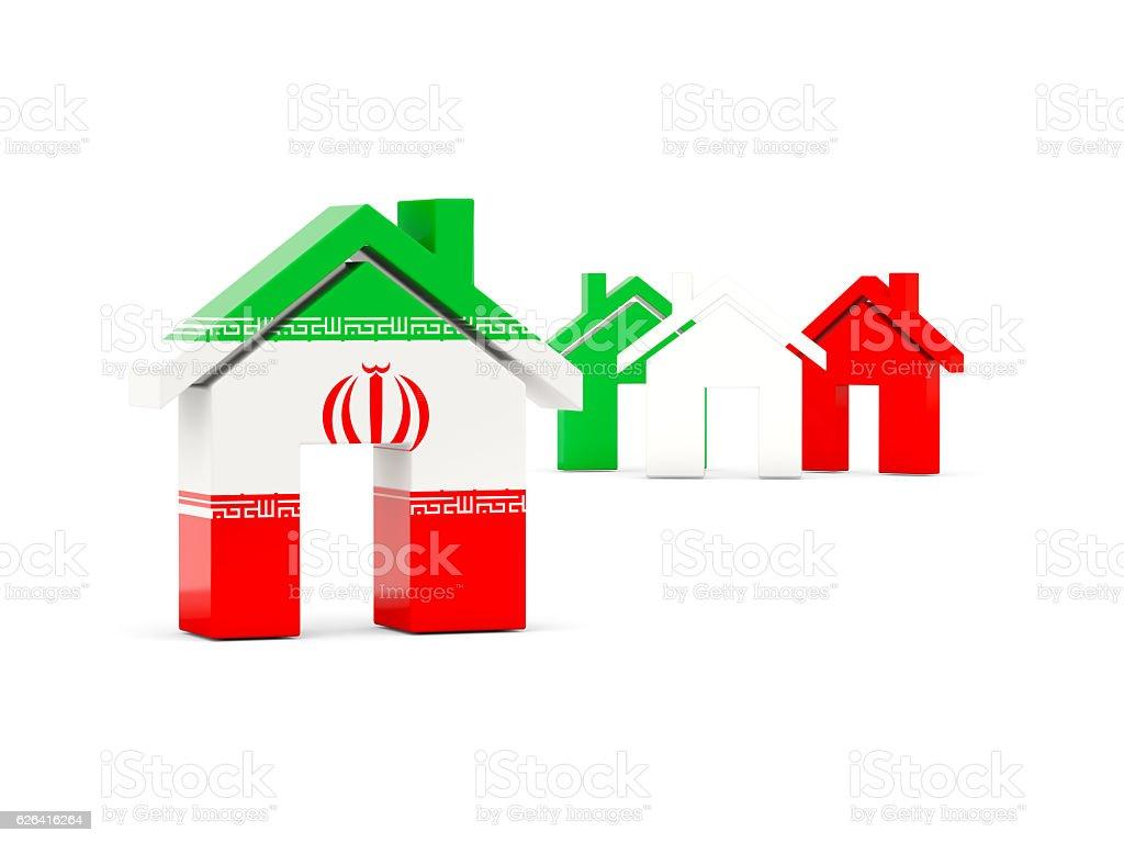 Flag of iran, home icon stock photo