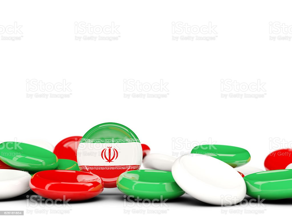 Flag of iran, round buttons stock photo