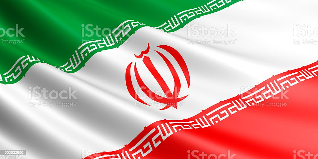 Flag of Iran waving in the wind. royalty-free stock photo