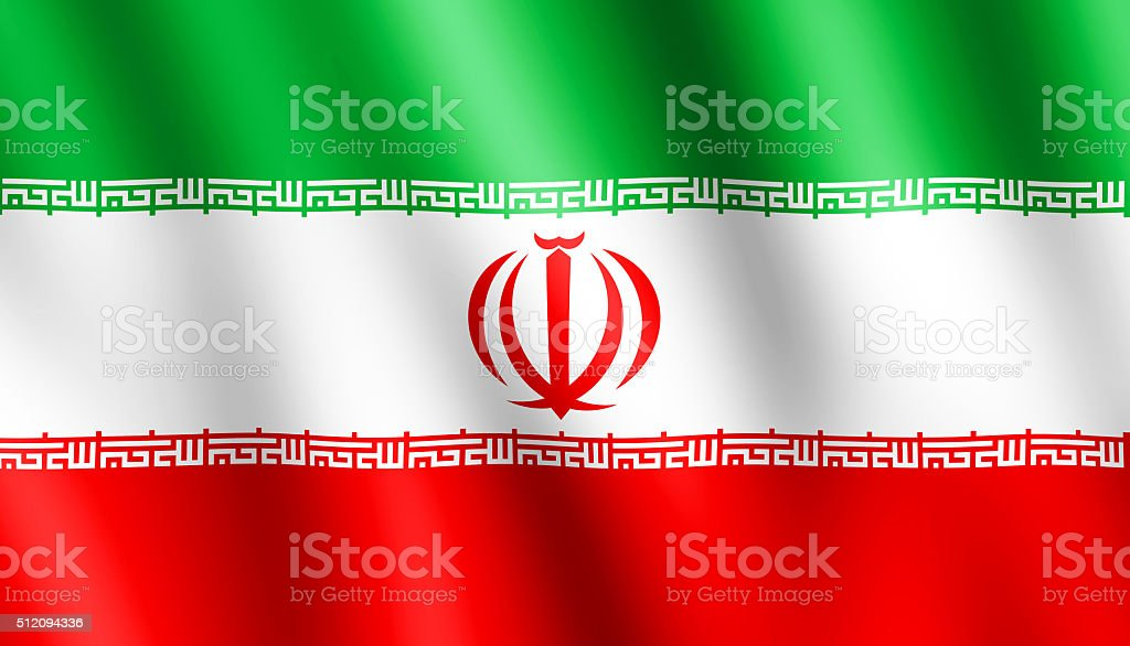 Flag of Iran waving in the wind stock photo