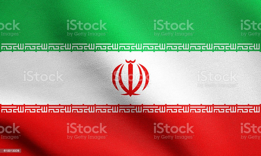 Flag of Iran waving with fabric texture stock photo