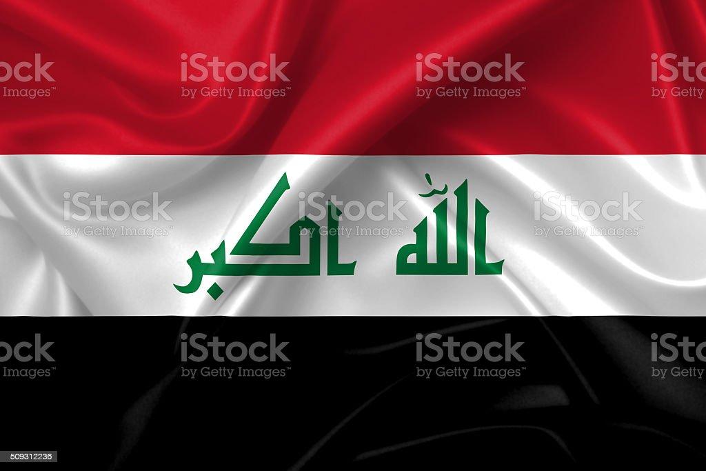 Flag of Iraq 3D, silk texture stock photo