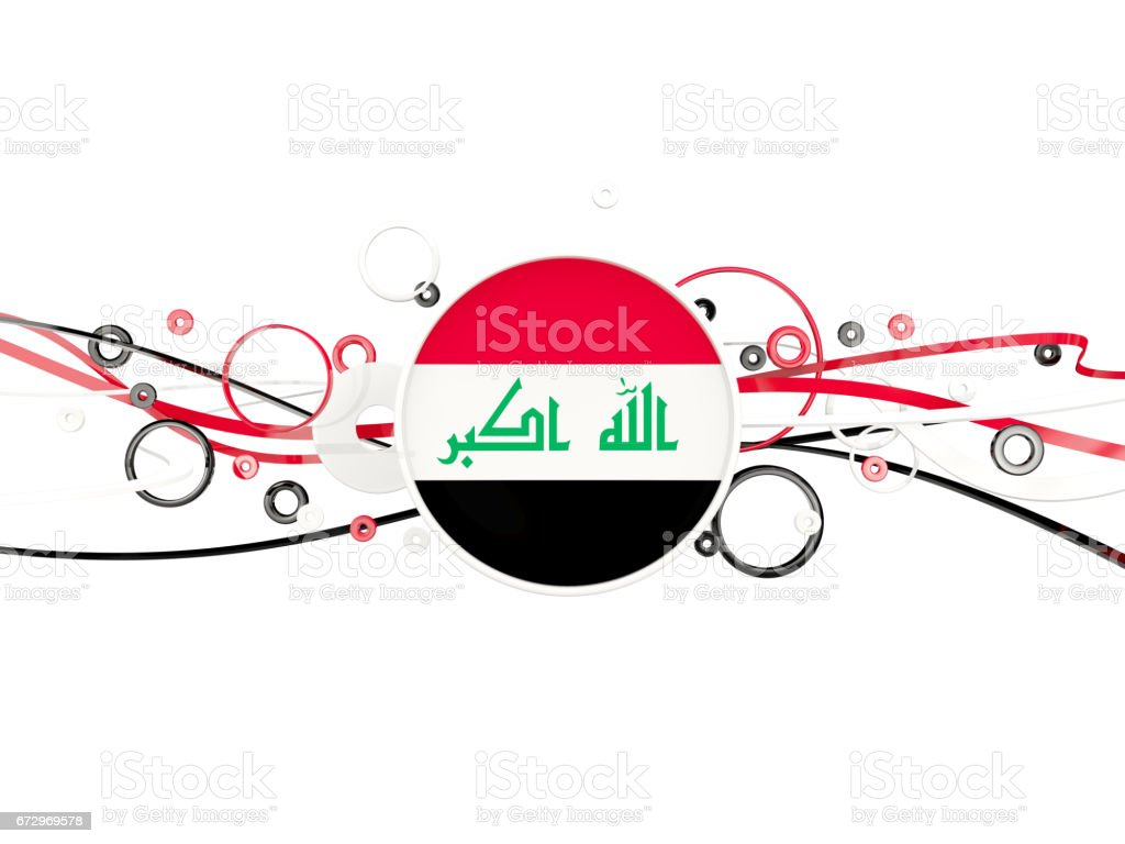 Flag of iraq, circles pattern with lines stock photo