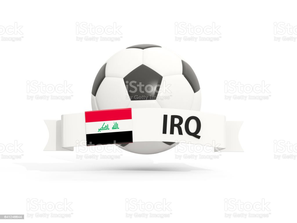 Flag of iraq, football with banner and country code stock photo