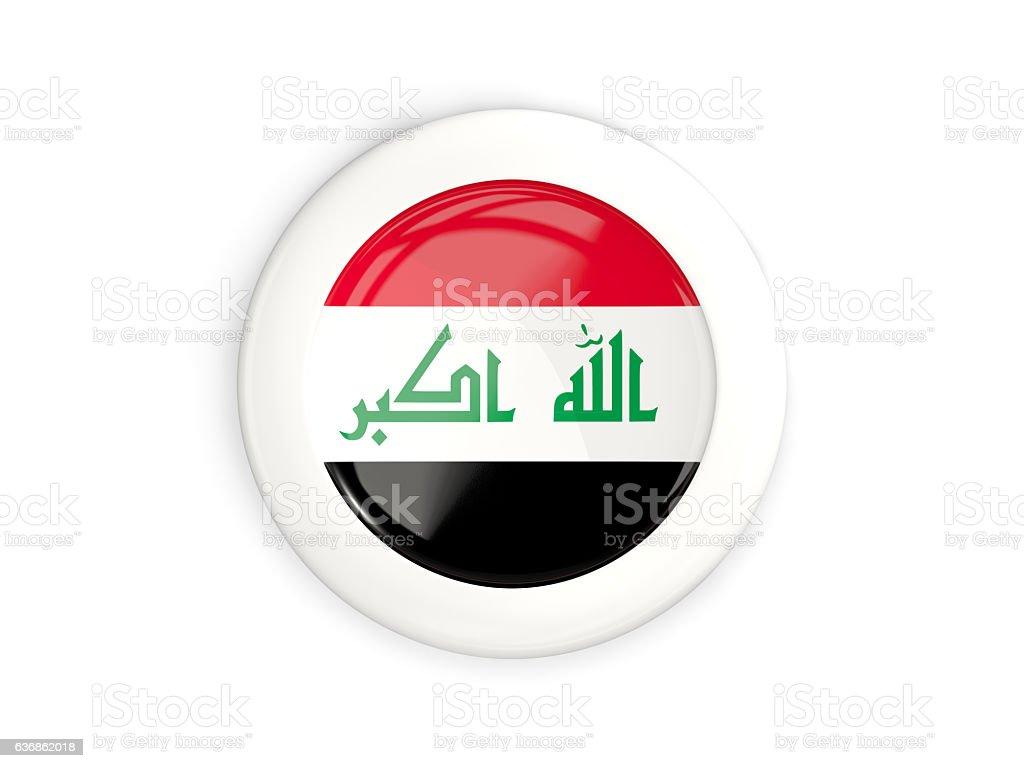 Flag of iraq, glossy round button stock photo