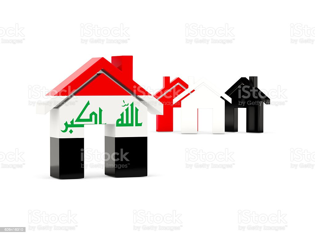 Flag of iraq, home icon stock photo