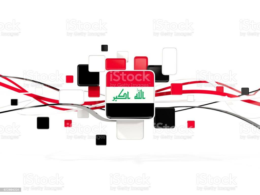 Flag of iraq, mosaic background with lines stock photo