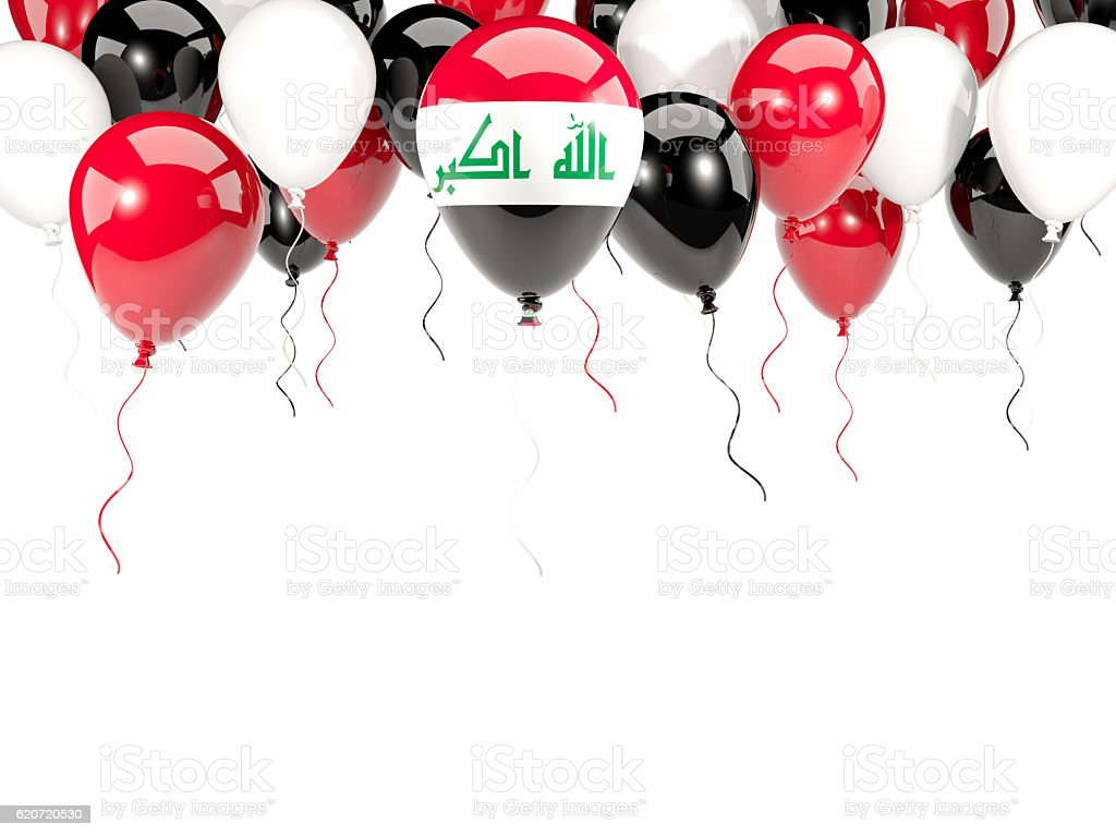 Flag of iraq on balloons stock photo