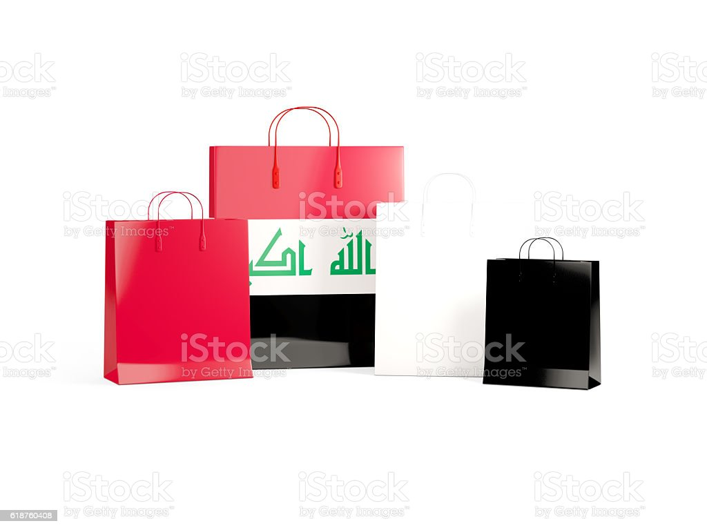 Flag of iraq on shopping bags stock photo