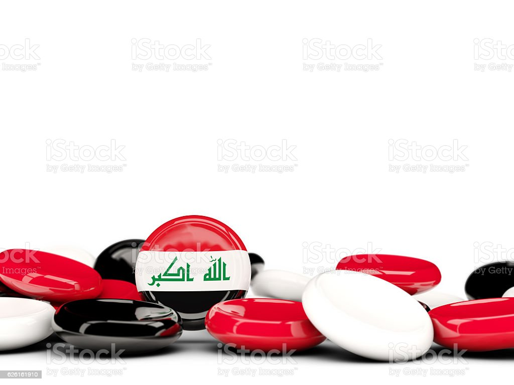 Flag of iraq, round buttons stock photo