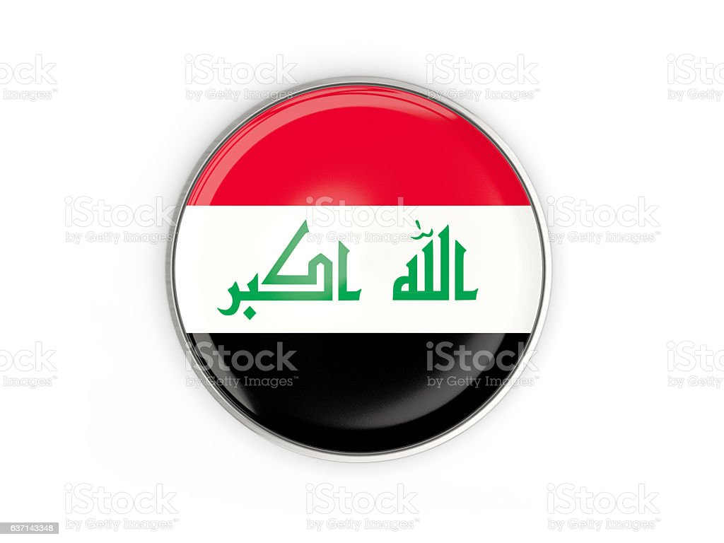 Flag of iraq, round icon with metal frame stock photo
