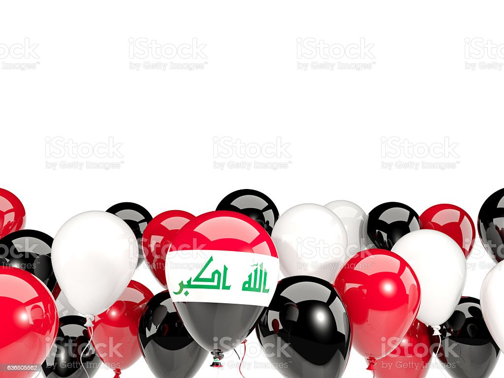 Flag of iraq with balloons stock photo