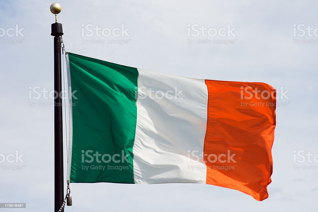 Flag of Ireland, National Irish Banner Waving, Rippling in Wind royalty-free stock photo