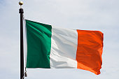 Flag of Ireland, National Irish Banner Waving, Rippling in Wind