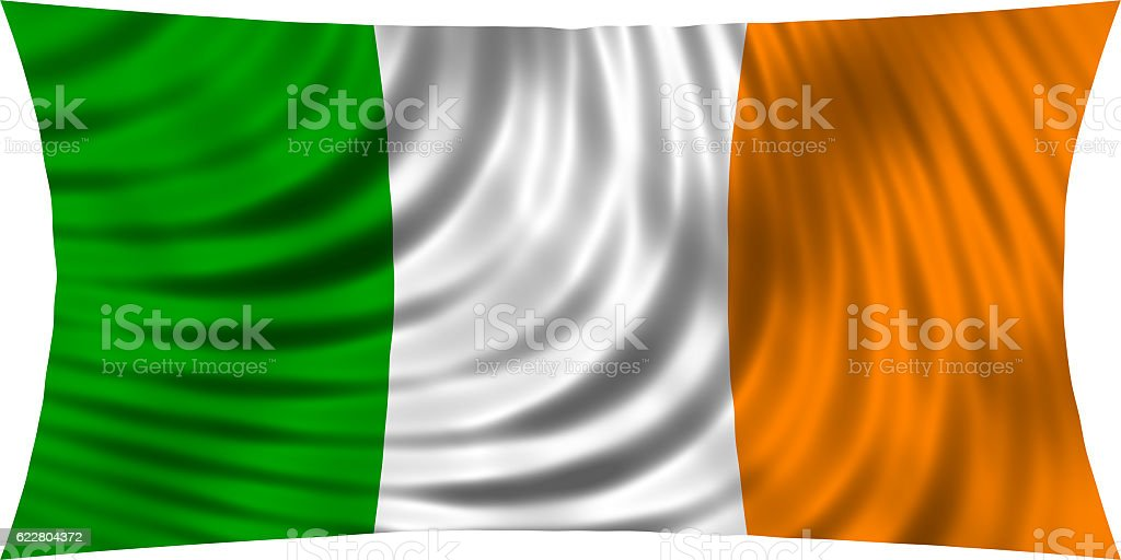 Flag of Ireland waving in wind isolated on white stock photo