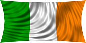 Flag of Ireland waving in wind isolated on white