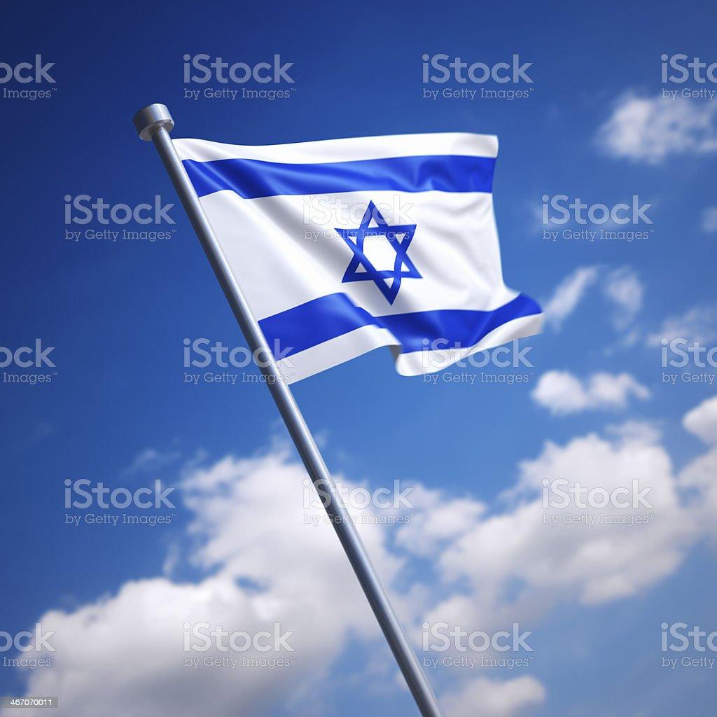 Flag of Israel against blue sky stock photo