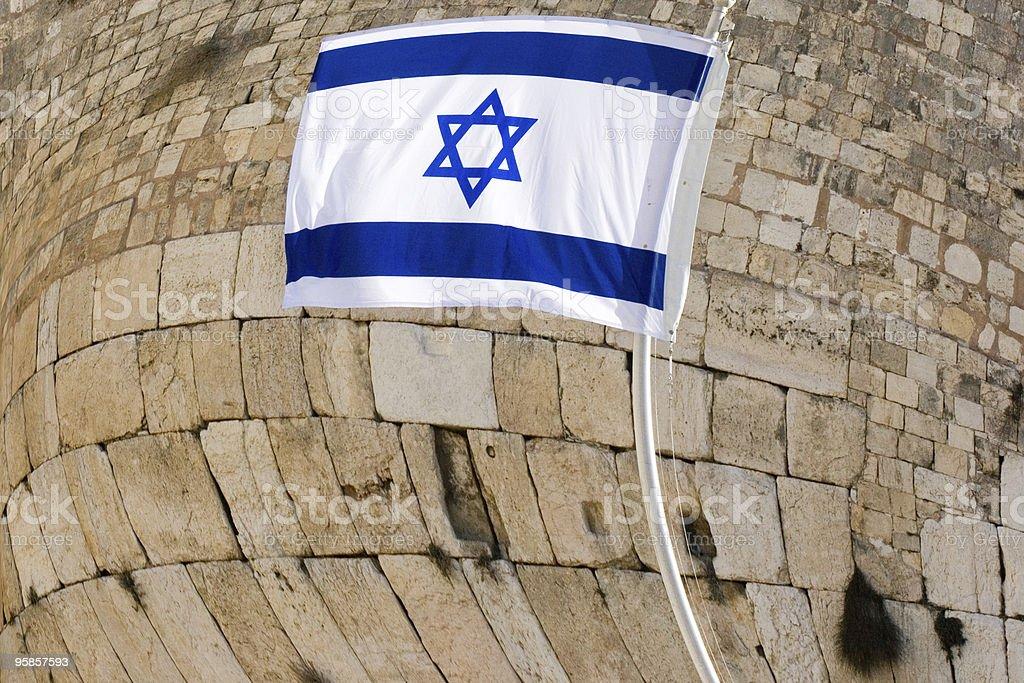 Flag of Israel and Wailing Wall royalty-free stock photo