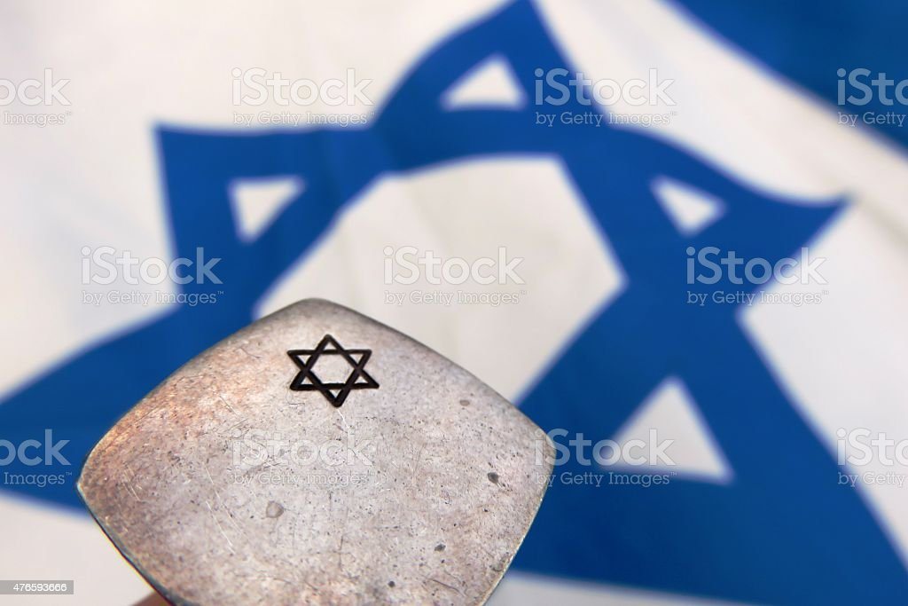 Flag of Israel, Star of David stock photo