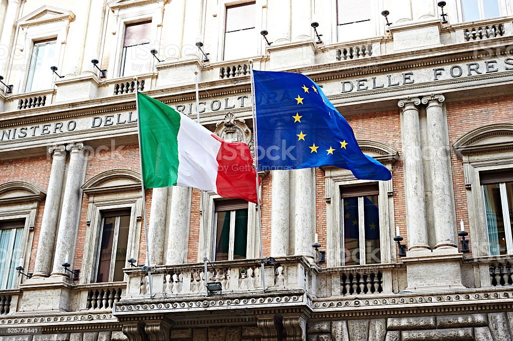 Flag of Italy and United Europe on government in Rome stock photo