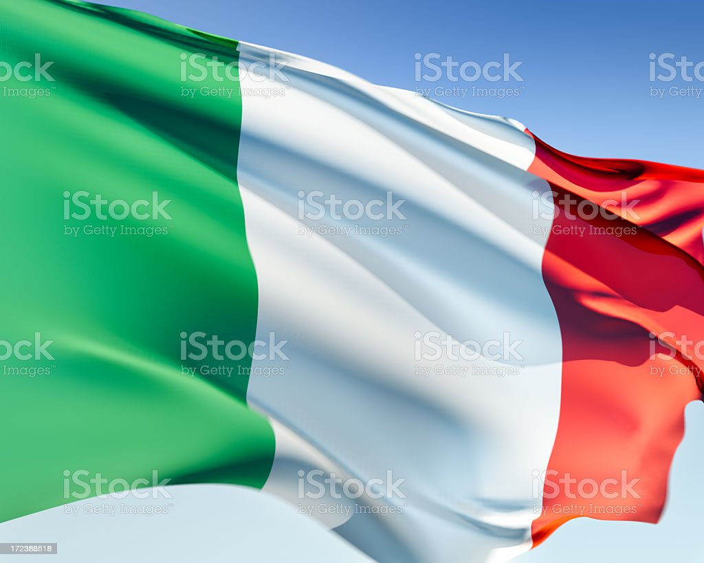 Flag of Italy flying in the wind royalty-free stock photo