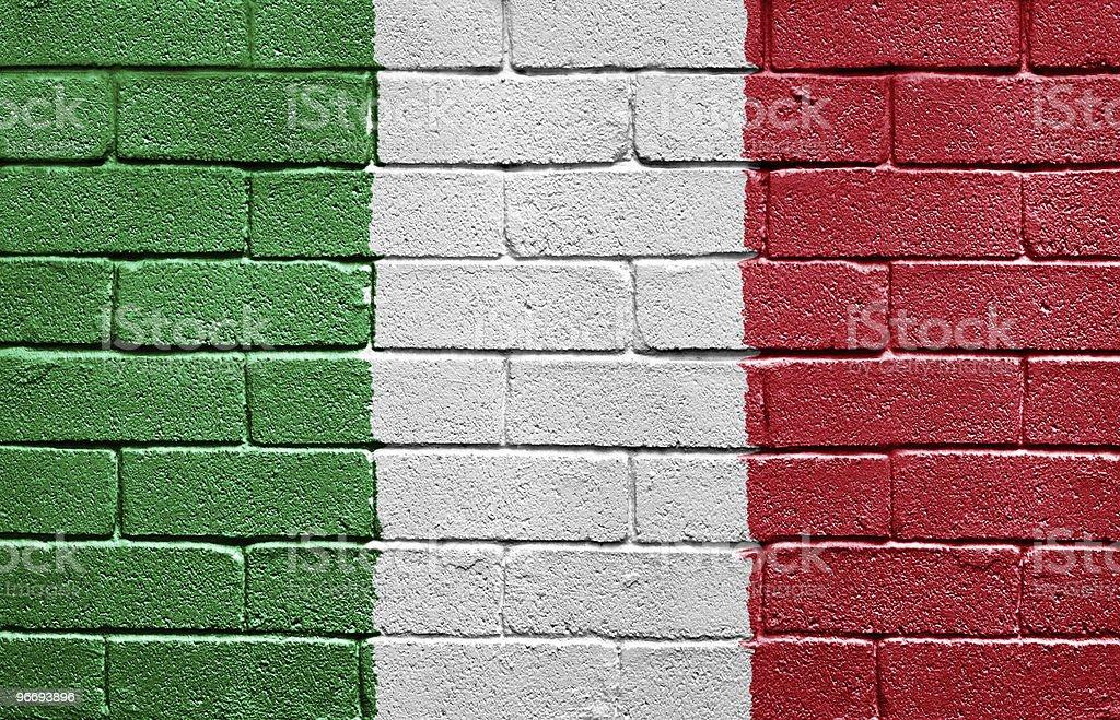 Flag of Italy on brick wall royalty-free stock photo