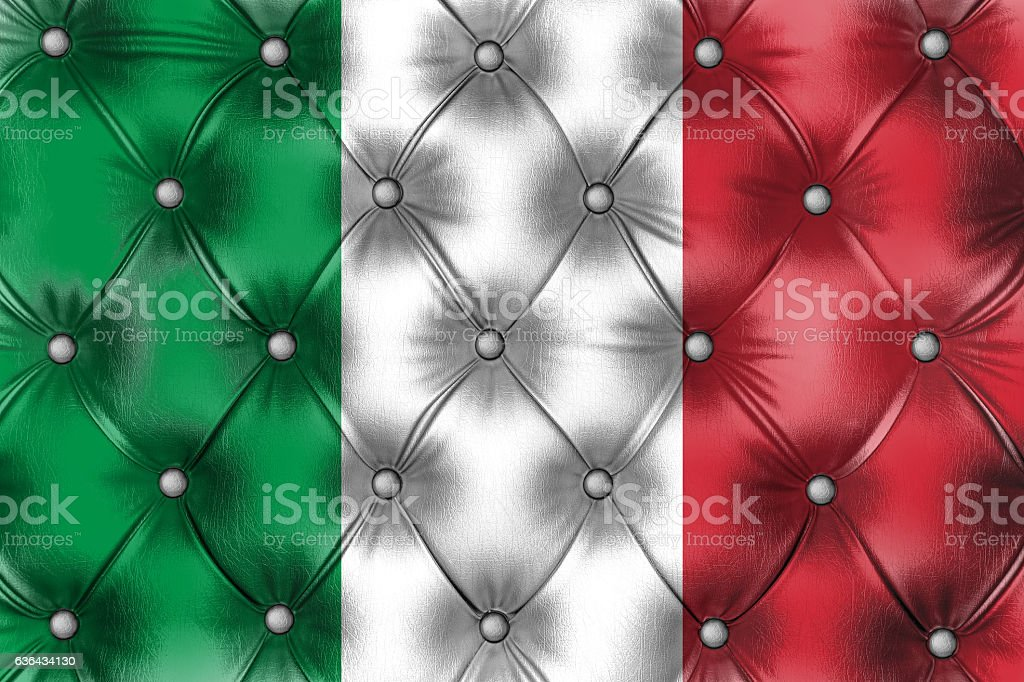 Flag of Italy painted on Capitone checkered  leather stock photo