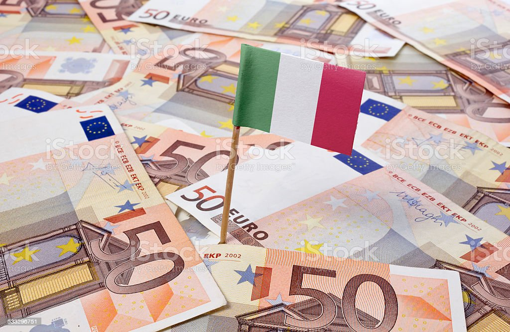 Flag of Italy sticking in 50 Euro banknotes.(series) stock photo