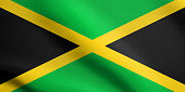 Flag of Jamaica waving with fabric texture