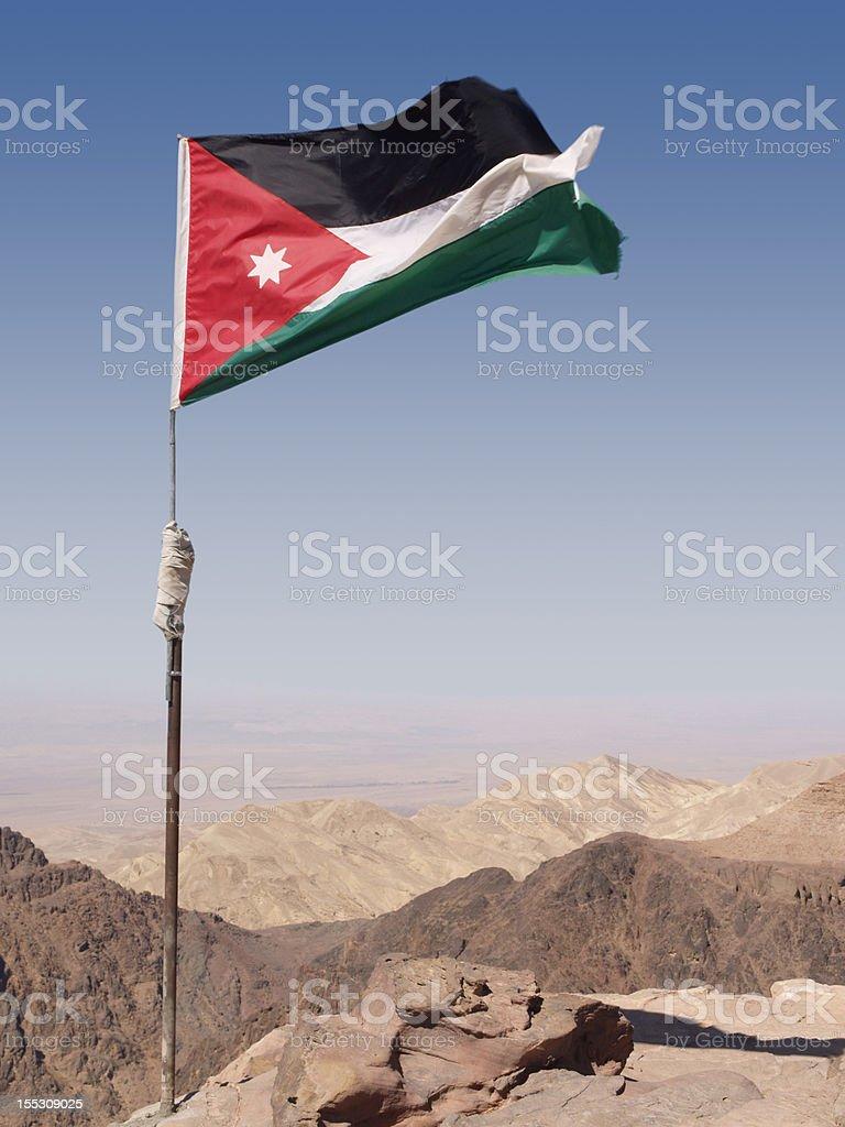 Flag of Jordan in Desert stock photo