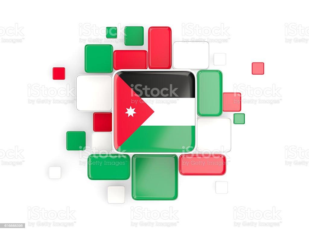 Flag of jordan, mosaic background stock photo