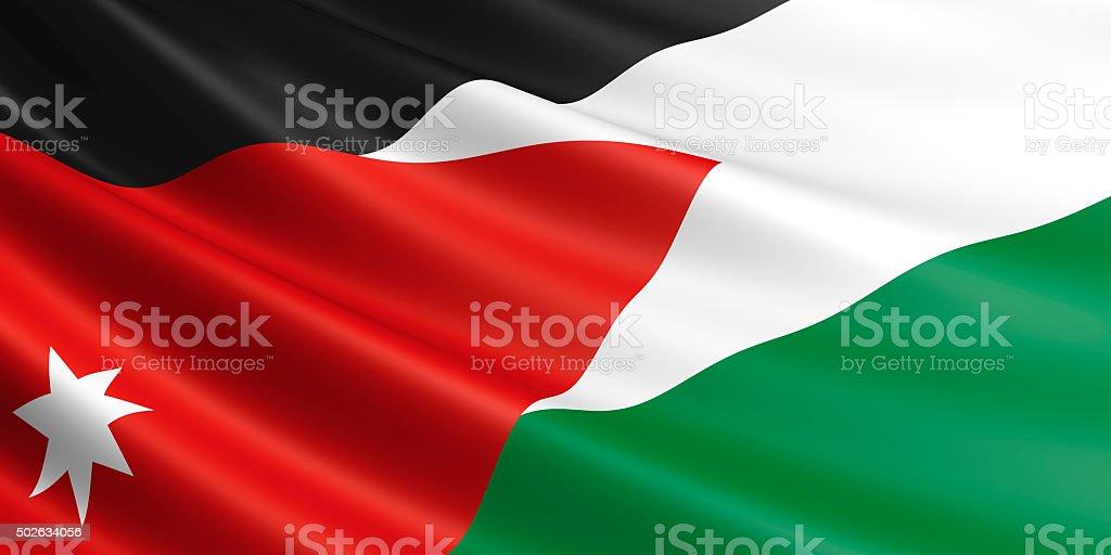 Flag of Jordan waving in the wind. royalty-free stock photo