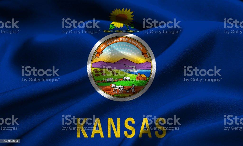 US flag of Kansas stock photo