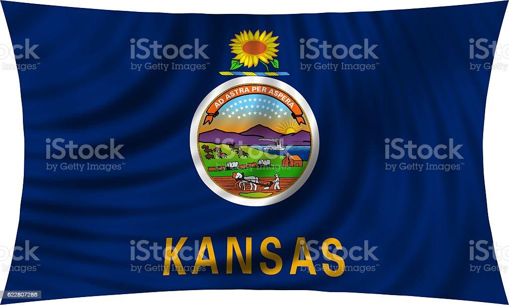 Flag of Kansas waving isolated on white stock photo