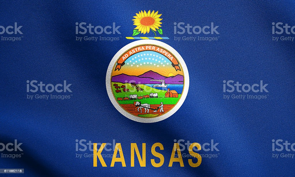 Flag of Kansas waving with fabric texture stock photo