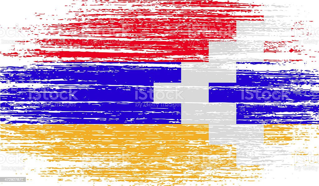 Flag of Karabakh Republic with old texture. vector art illustration