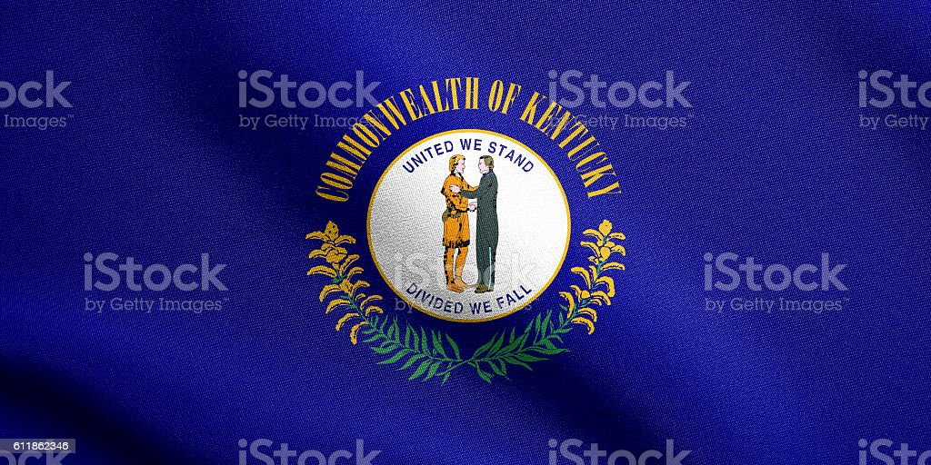 Flag of Kentucky waving with fabric texture stock photo