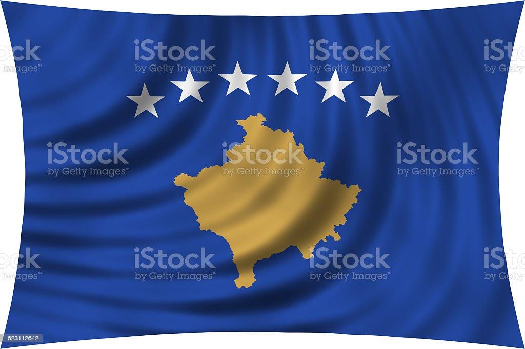 Flag of Kosovo waving isolated on white stock photo