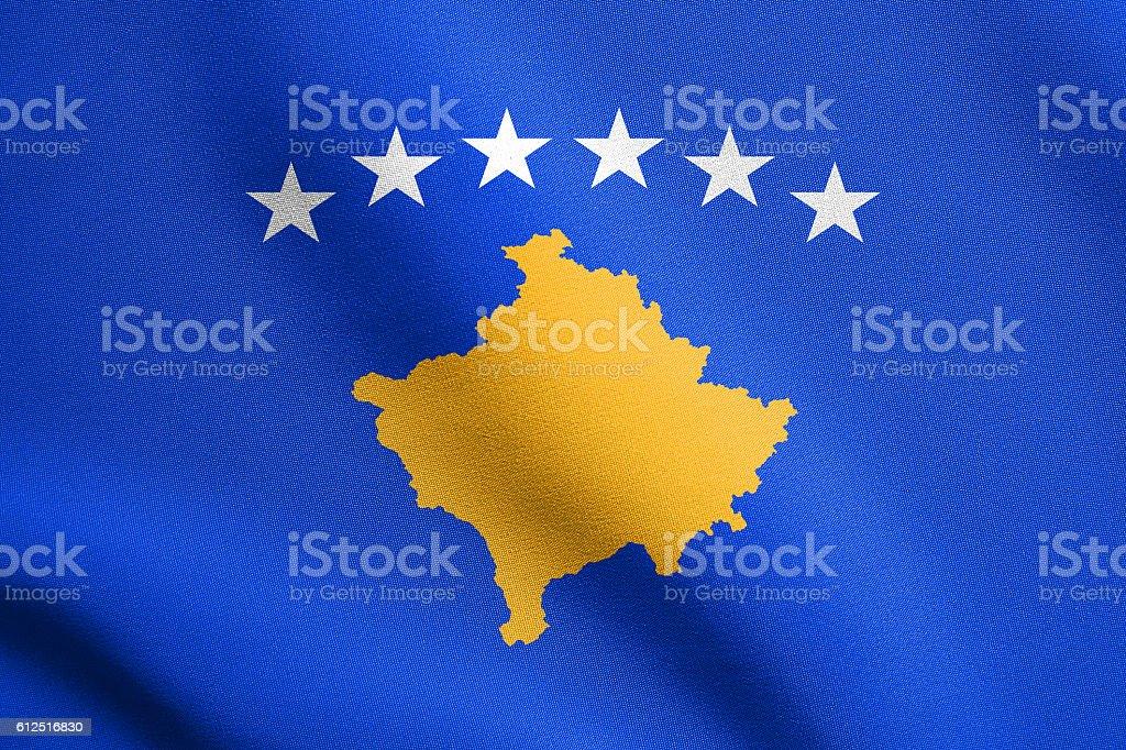 Flag of Kosovo waving with fabric texture stock photo