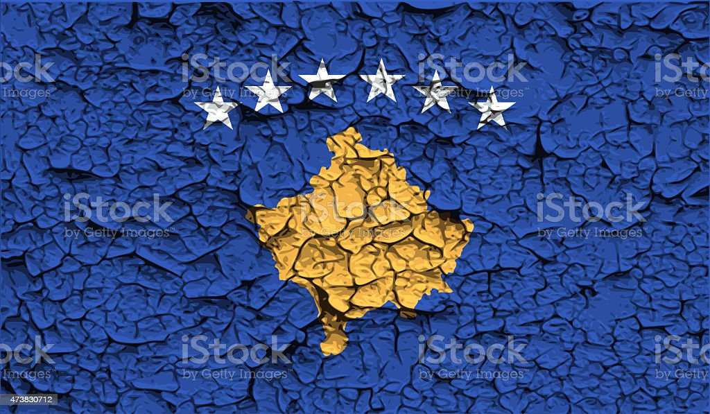 Flag of Kosovo with old texture. stock photo