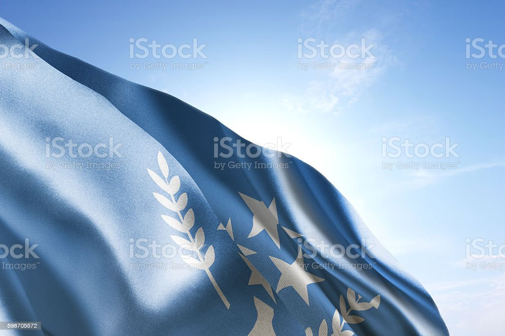 Flag of Kosrae waving in the wind stock photo