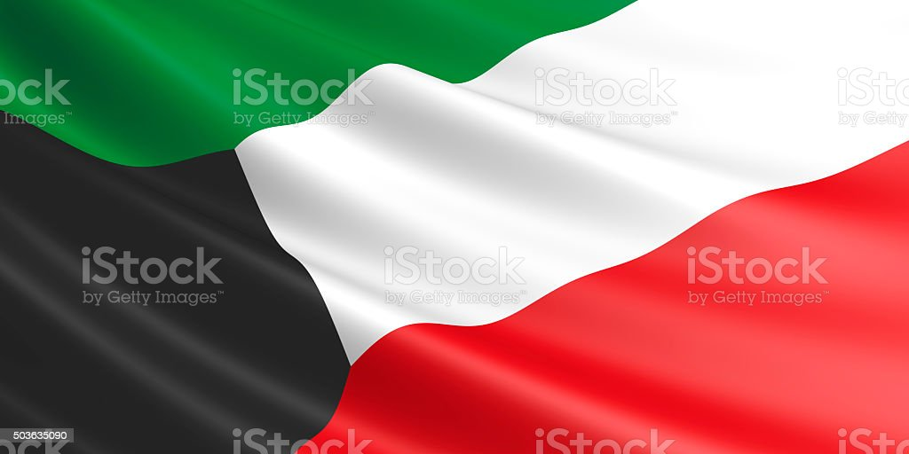 Flag of Kuwait waving in the wind. royalty-free stock photo